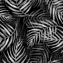 Fototapeta Czarno-Biały Watercolor seamless background, monochrome. Watercolor Palm leaf background. white leaves, silhouette, floral pattern on a black background. tropical palm leaf.