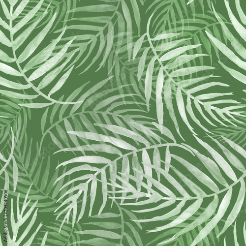 Spoed Fotobehang Tropische Bladeren Seamless watercolor pattern, background. Palm leaf background, postcard. Green tropical palm leaf. Illustration for design wedding invitations, greeting cards, postcards.