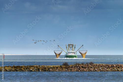 Deutschland, Wattenmeer; Krabbenkutter auf Fischfang