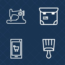 Premium Set Of Outline Vector Icons. Such As Tool, Mobile, Woman, Grunge, Craft, Hand, Sew, Shape, Store, Paint, Equipment, Needle, Industry, People, Pretty, White, Fabric, Smartphone, Buy, Element