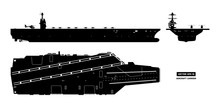 Silhouette Of Aircraft Carrier...