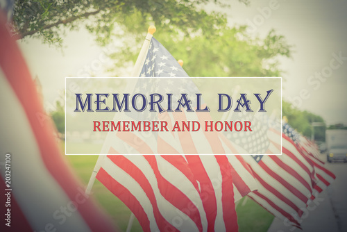 Fotografía Text Memorial Day and Honor on long row of lawn American Flags background