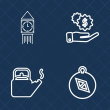 Premium Set Of Outline Vector Icons. Such As Earn, Hand, Salary, East, Nautical, Compass, Tower, Travel, Boil, Teapot, Steam, Payment, Uk, Kitchen, Business, Direction, Wealth, Bank, England, Money