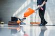 washing floor with machine