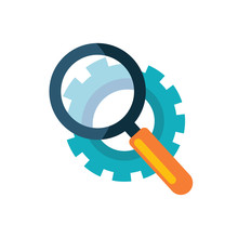 Vector Icon Of A Magnifying Glass That Is Looking Over The Gear