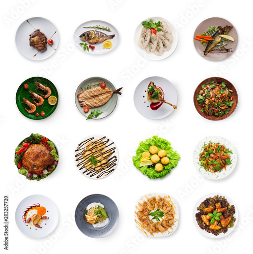 Photo Stands Ready meals Collage of restaurant dishes isolated on white