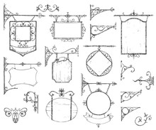 Vector Hand Drawn Collection Of Vintage Signboards, Bracket And