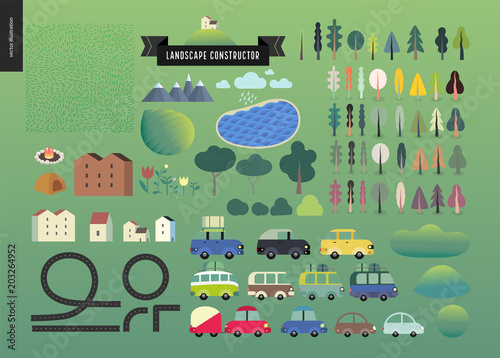 Deurstickers Olijf Summer landscape constructor set - kit of city and park landscape elements - houses, trees, cars, roads. Travel to tourist camp.