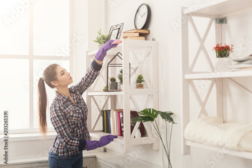 Obraz Woman cleaning dust from bookshelf - fototapety do salonu