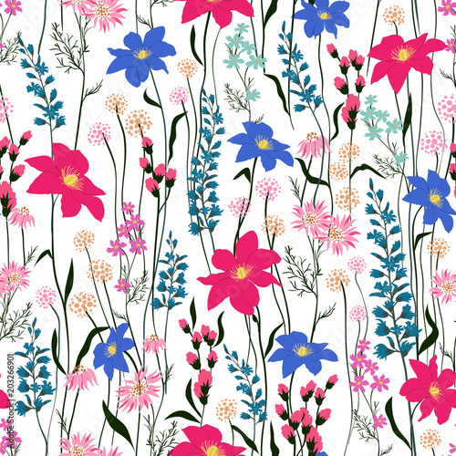 Seamless Pattern wind blow flowers, Isolated on whhite color Poster
