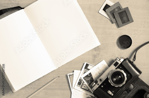 Foto op Aluminium Metal Photography background with a blank notebook