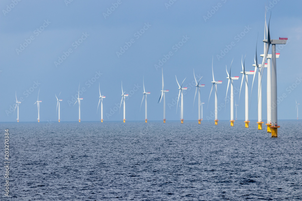 Fototapeta Offshore wind farm in the Kattegat sea outside Denmark.