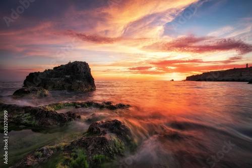 Foto op Aluminium Aubergine Beautiful summer landscape with sunset, colorful sky and sea. Composition of nature