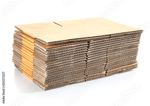 stack of cardboard boxes isolated on white Fotobehang