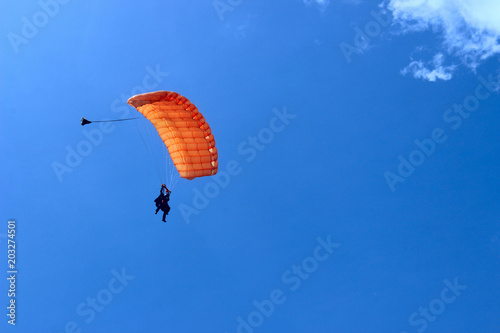 Poster Luchtsport Skydiver In Blue Sky. Active Hobby.Skydiving.Abstract Nature Background.