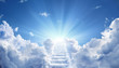canvas print picture - Stairway Leading Up To Heavenly Sky Toward The Light