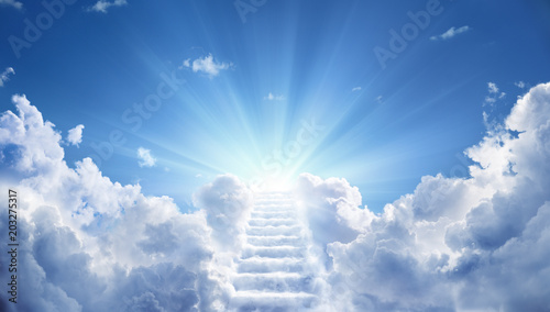 Fotografie, Obraz  Stairway Leading Up To Heavenly Sky Toward The Light
