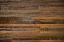Thick Wood Block Wall Of Reclaimed Wood With Rough Texture.