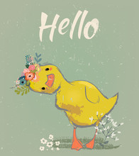 Little Duckling With A Floral ...
