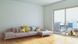 Modern bright interiors room 3D rendering illustration