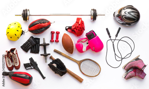 sports equipment for different sports