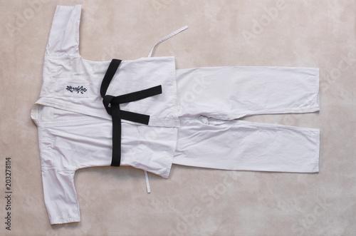 Stampa su Tela white kimono for practicing martial arts, karate, taekwondo