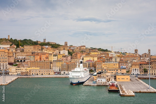 Cityscape of Ancona with ferries at the port viewed from the sea Wallpaper Mural