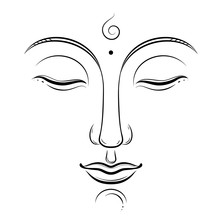 Buddha Face Vector Art. Buddhism, Yoga, Sacred Spiritual, Zen Ink Drawing Isolated On White