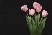 Bouqet Of Pink Tulips On Black...