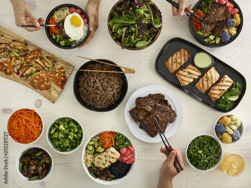 Overhead view of Korean family meal - 203281727
