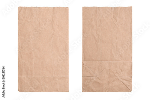 Brown paper bag, flat lay. New kraft paper bag laying flat front and back isolated white background and clipping path. #203281764
