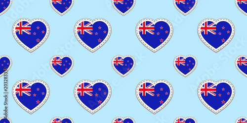 New Zealand Flag Seamless Pattern Vector Flags Stickers Love