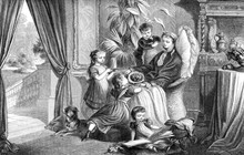 Sweet Portrait Of Convalescent Mother Cuddled By Her Toddlers In The Drawing Room, Vintage Engraving