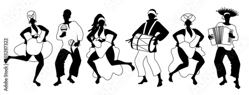 Group of men and women dancing and playing latin isolated on white background Wallpaper Mural