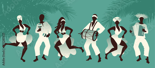 Tableau sur Toile Group of men and women dancing and playing latin music on tropical background wi