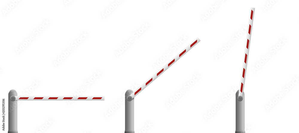Fototapeta Border barrier gates. Closed, half opened and open bar - isolated vector illustration on white background.