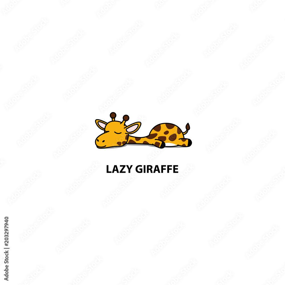 Fototapeta Lazy giraffe sleeping icon, logo design, vector illustration