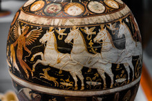 Ancient Painting On A Jug, An Antique Jug With Drawings Of Horses