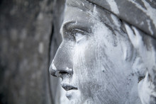 View In Profile Of An Ancient Statue Of Mary Magdalene. (religion, Faith, Holy, Christianity Concept)