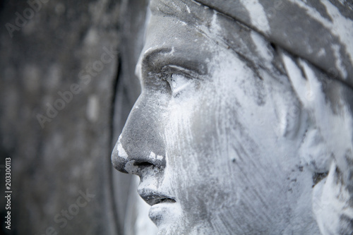 View in profile of an ancient statue of Mary Magdalene Wallpaper Mural