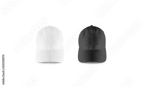 blank black and white baseball cap mockup set front view clear