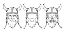 Viking Set. Hand Drawn Of A Vi...