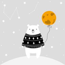 Polar Bear With Balloon Moon. Vector Hand Drawn Illustration.