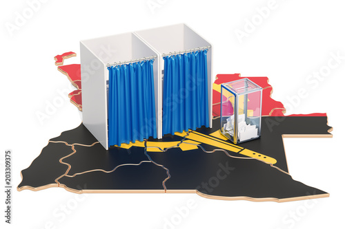 Angolan election concept, ballot box with voting booths on map of Angola, 3D ren Tablou Canvas