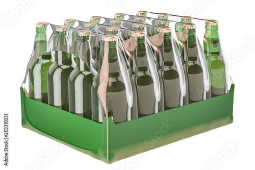 Valokuva Package of glass drink bottles in shrink film, 3D rendering