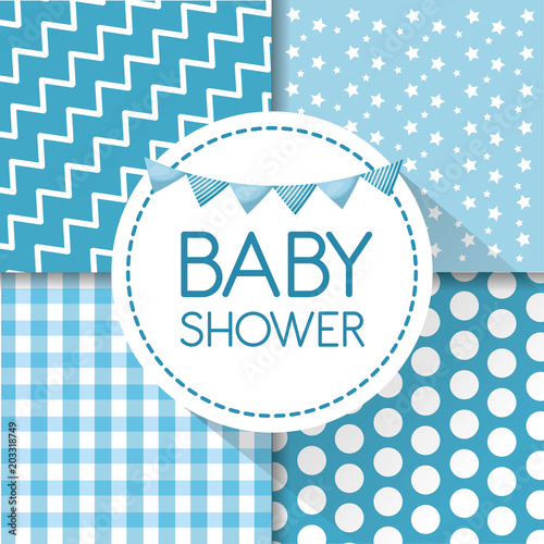 Baby Shower Card Labels Stars Stripes Square Background Blue Pennant Born Boy Celebration Day Vector Illustration Buy This Stock Vector And Explore Similar Vectors At Adobe Stock Adobe Stock