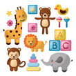 baby shower card giraffe elephant monkey lion cute animals toys cubes vector illustration