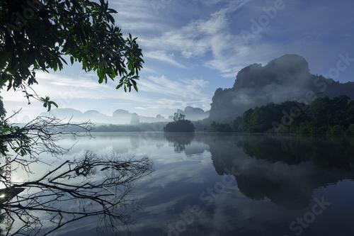 Fotobehang Volle maan Baan Nong Thale lake in Krabi, Thaialnd.