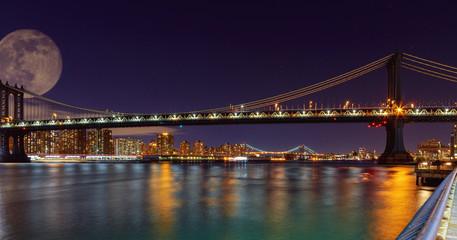 Panorama of Manhattan Bridge in New York City at night