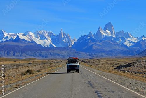 Old german vintage campervan traveling on the road from Los Glaciares National Park, El Chalten, Argentina